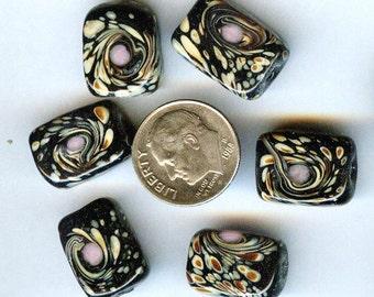 Midnight Garden Purple Rectangle Lampwork Beads 14mm x12mm 6pcs