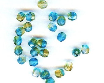 Turquoise & Topaz Faceted Czech Glass Rounds 4mm 25pcs