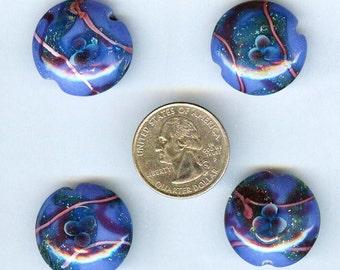 Large Deep Blue Lampwork Glass Lentil Beads 25x10mm 4pcs