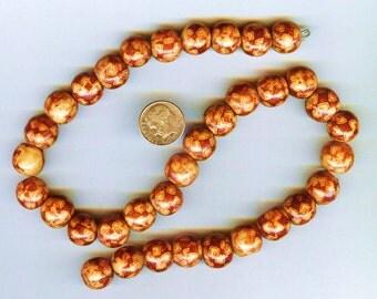 Red & Tan Round Wood Beads 12mm 15pcs Beautiful