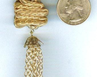 """Nostalgic Gold Ribbon Tassle Pendant 6 1/2"""" Long"""