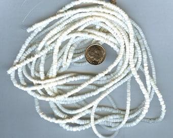 "Pure White Clam Shell Heishi Beads 2-3MM 24"" Strand AA Quality"