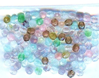Hurricane Fire Polished Faceted Czech Glass Round Beads Crystal Spring Mix 3mm 50pcs