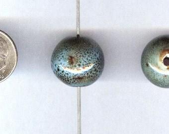 Handmade Porcelain Sky Blue Round Beads 16mm 6pcs