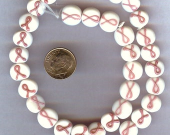 LAST 5 pieces Pink RIBBON Glass Breast Cancer Awareness Coin Beads 10-11mm