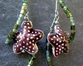 Starfish and seaweed earrings