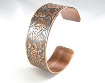 Copper Cuff - Chinese Pheasants - Ladies M  Bracelet