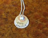 Original Stacked Mixed Metal Necklace Personalized Hand Stamped Mothers Necklace