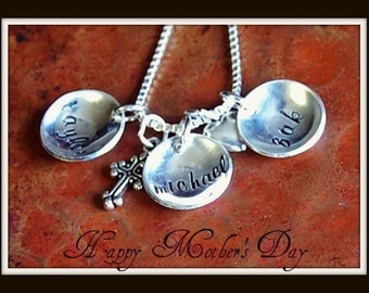 Sterling Silver Tiny Cups of Love-Hand Stamped Necklace