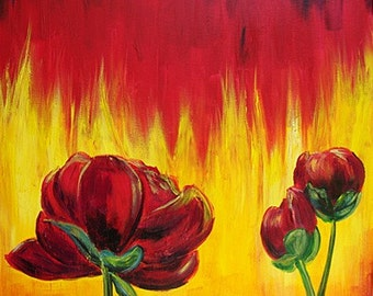 Acrylic Painting Original on Canvas - Peonies and Flames
