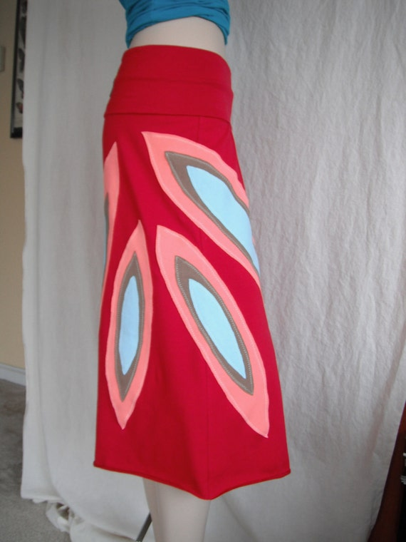OOAK Red Upcycled Sunburst Yoga Pants, S/M, eco-fashion, repurposed t-shirt jersey knit, by REVIVAL