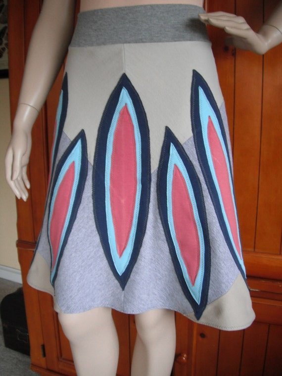 REVIVAL SALE-Upcycled Skirt, XS/S, Eco-Fashion, Repurposed T Shirt Knit