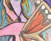 My Wings Are Growing SALE Original ACEO with Mat