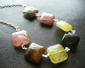 Indian Aventurine Wire wrapped Silver Chain Necklace Multi Color