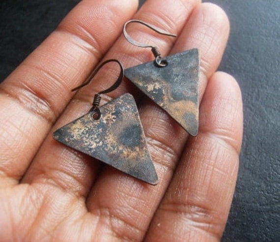 Oxidized Copper Triangle  Earrings