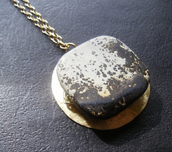 Black Gray Jasper and Brass Necklace