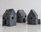 Set of 3 Gray Mini Felt House Luminaries