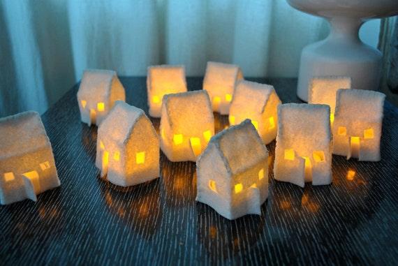 Set of 3 Mini Felt House Luminaries