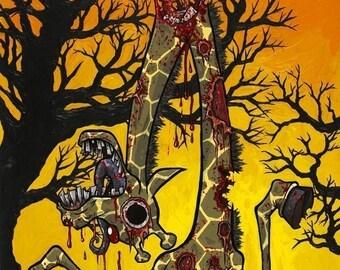 Zombie Giraffe 8 x 10 Giclee print