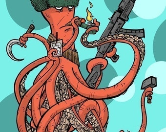 Russian Spy Octopus Archival Print
