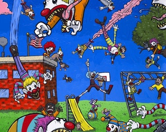 Flying Clowns Descend on the Schoolyard 12 x 18 Print