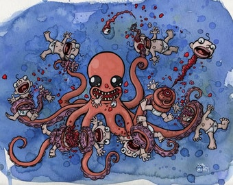 Octo-Nom 11 x 14 Archival Print Octopus Eating Babies