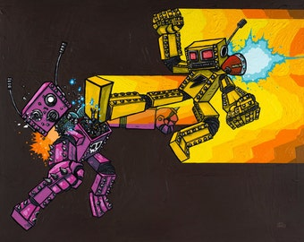 Battle Without Honor Or Humanity original painting of robots fighting
