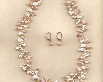 Freshwater Cornflake pearls necklace set