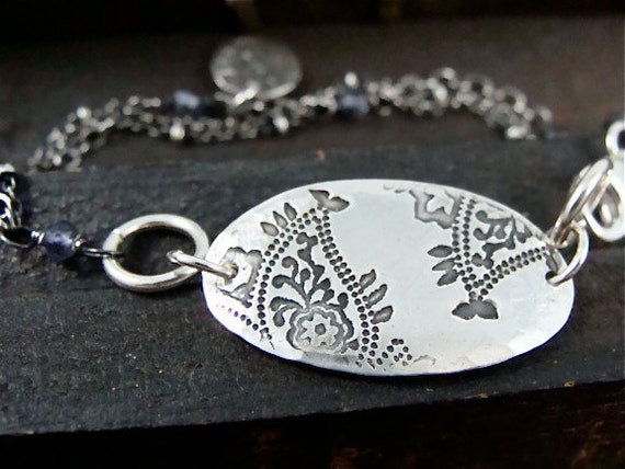 paisley ... iolite and silver bracelet