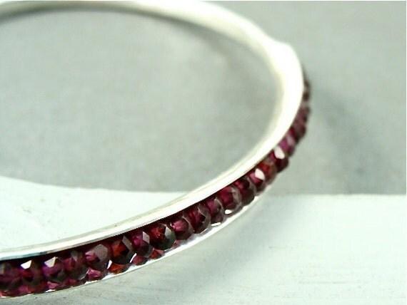 skinny pink garnet bangle