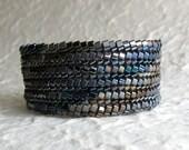 Midnight Slant Ndebele Bracelet Cuff