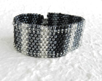 Black & White Peyote Cuff Bracelet