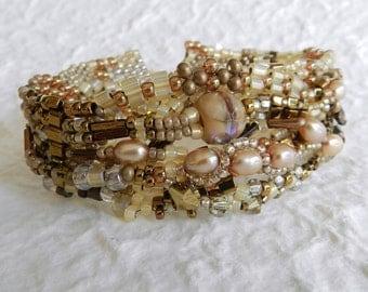 Golden Freeform Peyote Bracelet