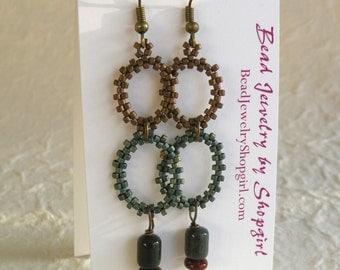 Jasper and Beaded Circles Earrings