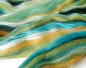 kelp Tussah Silk/Merino Wool gigglejelly colourblend roving 3.6oz/100g