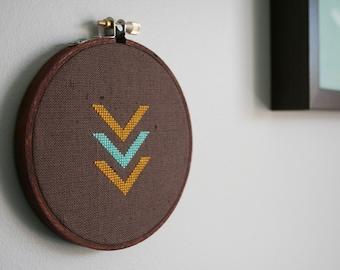 Vandetta Wall Wear - Chevron triangle cross-stitch wall decor frame embroidery