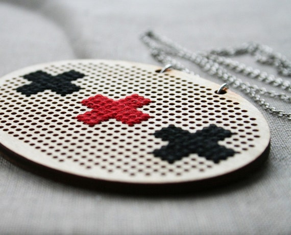 Save Me Necklace - plus sign geometric cross-stitch embroidery crossstitch wood aid black red