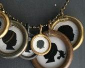 large size . three pendant . custom silhouette necklace