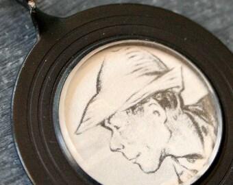 Farmer Joe . NECKLACE . Vintage Story Book Illustration . Antique Optical Lens