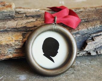 Custom Silhouette Ornament . Antique Brass