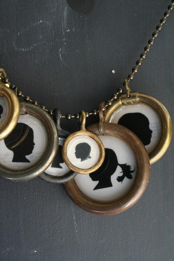 multiple pendant . custom silhouette necklace