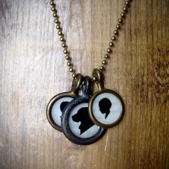 three pendant . custom silhouette necklace . small