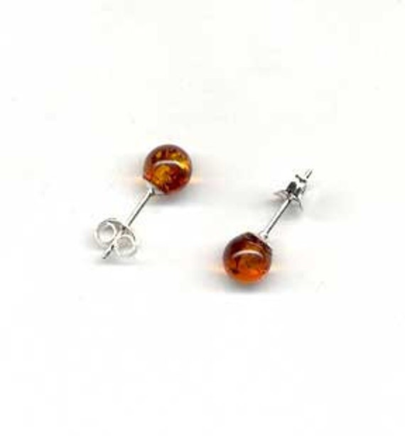 6mm Genuine Baltic Amber Earrings - Sterling Silver Stud and Earnut