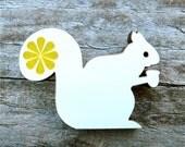 Squirrel Brooch Laser Cut Wood Folk Saffron Yellow Flower Pin Jewellery