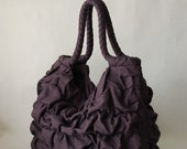 Ruffled Linen Bag in levander purple