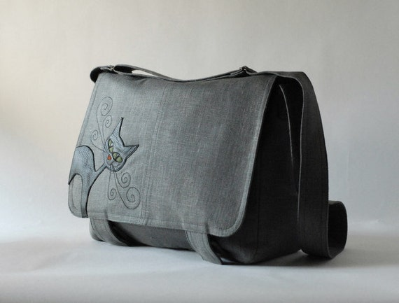 Messenger bag  with leather cat - grey linen