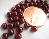 Burgundy Glass Pearl Beads