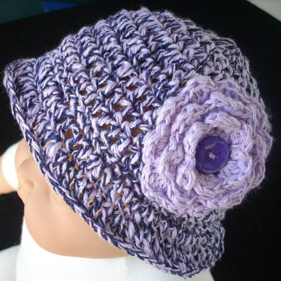 SUMMER SALE, was 15 now 10 dollars, Purple and Lavender Summer Cotton Bucket Hat with Brim, for Baby Girl 6 to 12 months, with Accent Flower