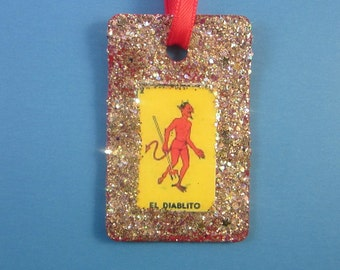 Devil Christmas Ornament - Diablo Loteria Rearview Mirror Decor