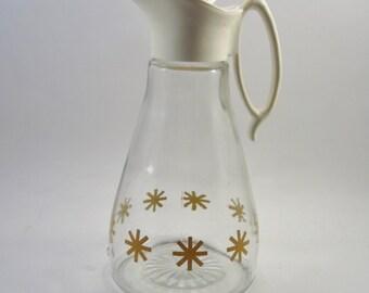 Vintage Starburst Maple Syrup Pitcher - Retro Atomic Cruet - Kitsch Glass Creamer